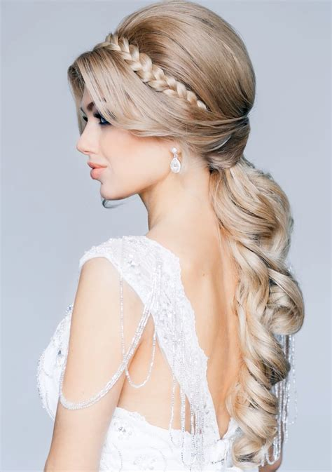 blonde wedding updos long blonde wedding hairstyle with little braid ipunya