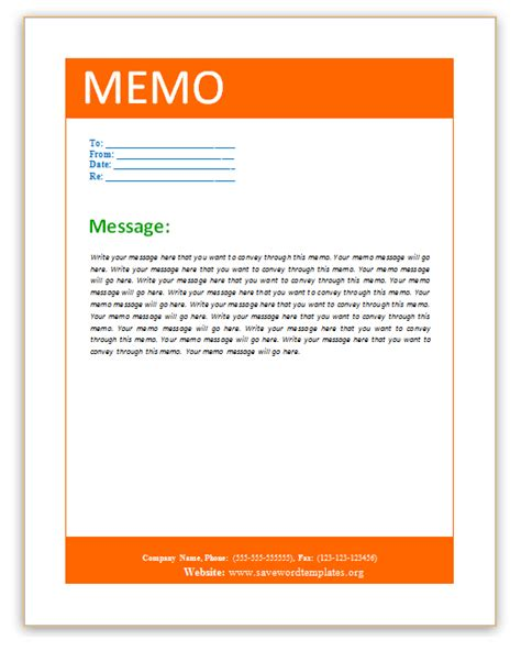 Memo Template Design Save Word Templates