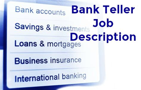 Requirements For Bank Teller by Bank Teller Description
