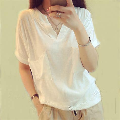 Blouse Blus Atasan Pakaian Wanita White Embr L 345099 putih blus kemeja v neck blouse wanita pakaian linen lengan pendek kemeja wanita blus wanita