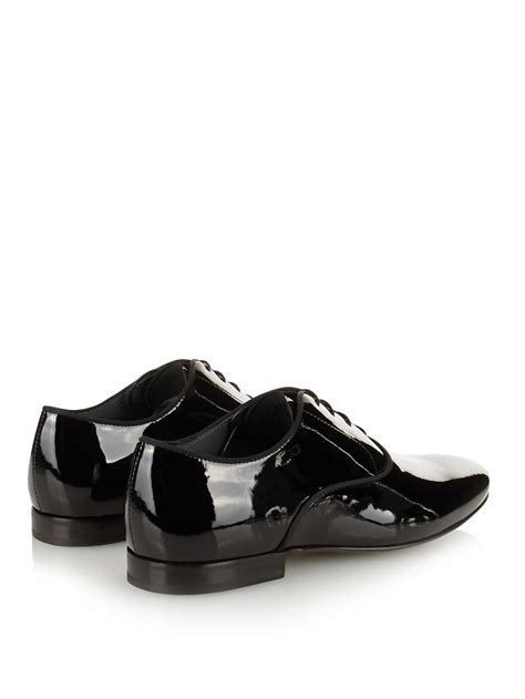 lanvin patent leather oxford shoes in black for lyst