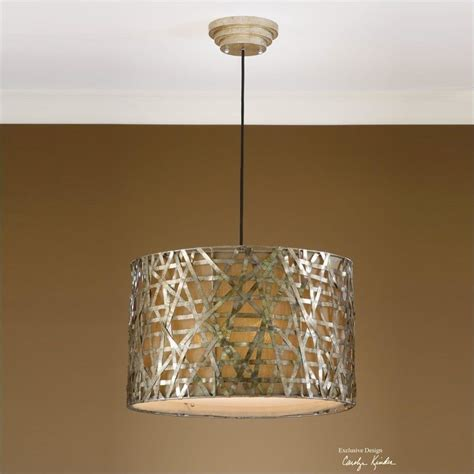 Metal Drum Chandelier Uttermost Alita Chagne Metal Drum Pendant In Silver 442803