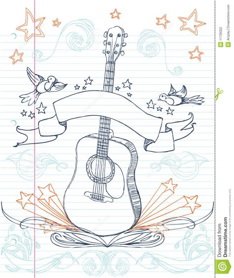 doodle do guitarra doodle da guitarra fotografia de stock imagem 11739322