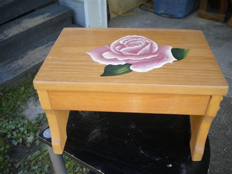 pink wooden step stool step stool wooden stool acrylic painting pink