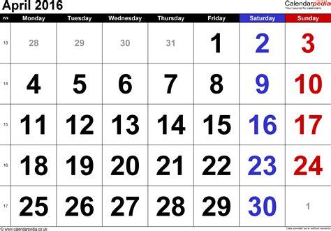S Calendar To Calendar Calendar April 2016 Uk Bank Holidays Excel Pdf Word