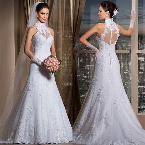 Gaun Wedding 32 a line vintage lace halter wedding dress gaun pengantin