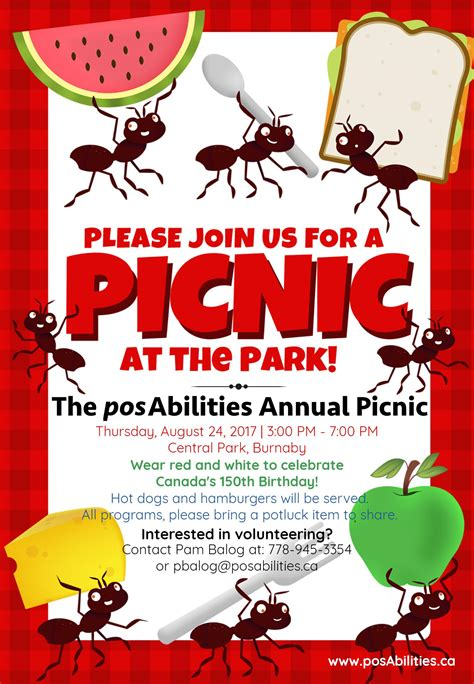 picnic invitation template posabilities annual picnic at the park posabilities