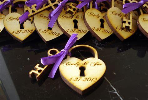 Personalized Wedding Giveaways - custom wood wedding favors heart lock and key onewed com