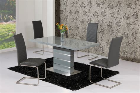 Extending Grey High Gloss Dining Table And 4 Grey Chairs Hi Gloss Dining Table