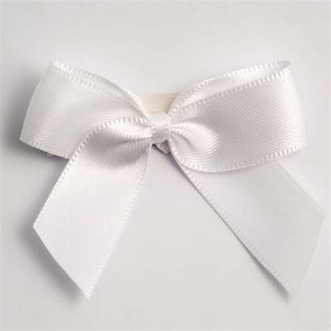 White Self Adhesive Satin Ribbon Satin Bows, Favour This