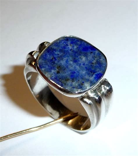 antique s ring in 925 silver with lapis lazuli