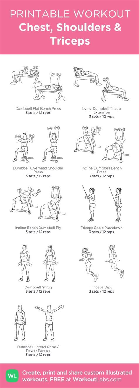 chest shoulders triceps my visual workout created at