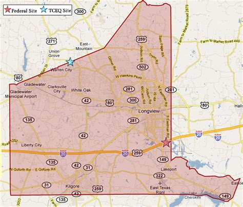 map of gregg county texas superfund in gregg county tceq www tceq texas gov