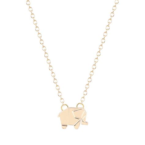 Origami Elephant Necklace Origami Charm Necklace Geometric