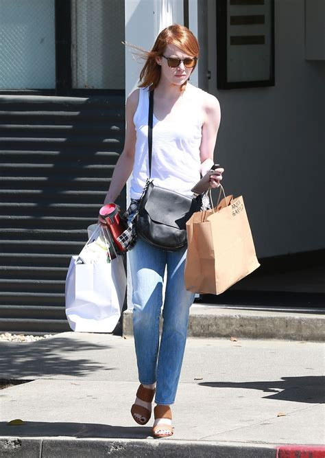 emma stone casual emma stone casual style shopping in los angeles april 2015