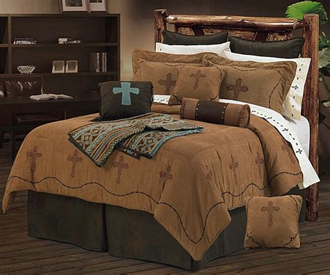western comforter set barbwire cross embroidery dark tan western bedding set