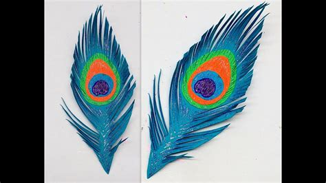 How To Make Peacock Feather With Paper - diy how to make easy paper peacock feather