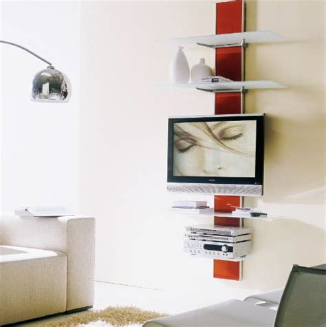 wall mounted tv with wall mounted shelves vertical home