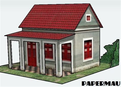 model house building simple house with veranda free building paper model download