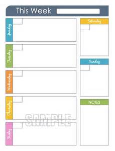week at a glance template weekly planner printable editable organizing planner