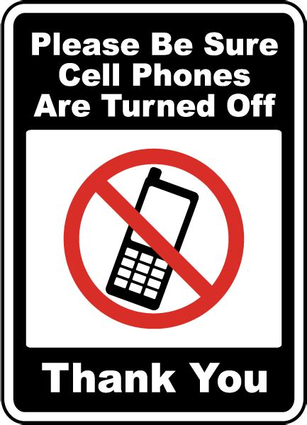 engraved no cell phone signs please turn off cell phones seton
