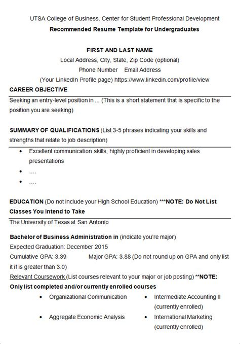Resume Template For College Student by 10 College Resume Template Sle Exles Free