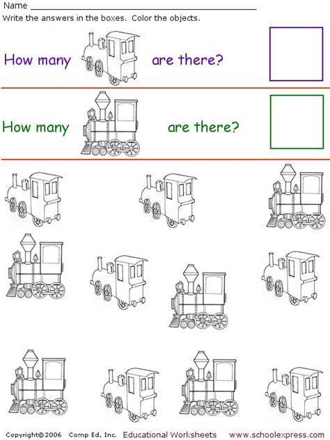 printable preschool train activities count the trains worksheet preschool theme trains
