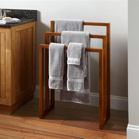 Bathroom Towel Racks And Shelves Hailey Teak Towel Rack Towel Holders Bathroom Accessories Bathroom