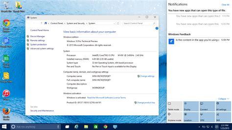 install windows 10 notification windows 10 pro technical preview screenshots techonia