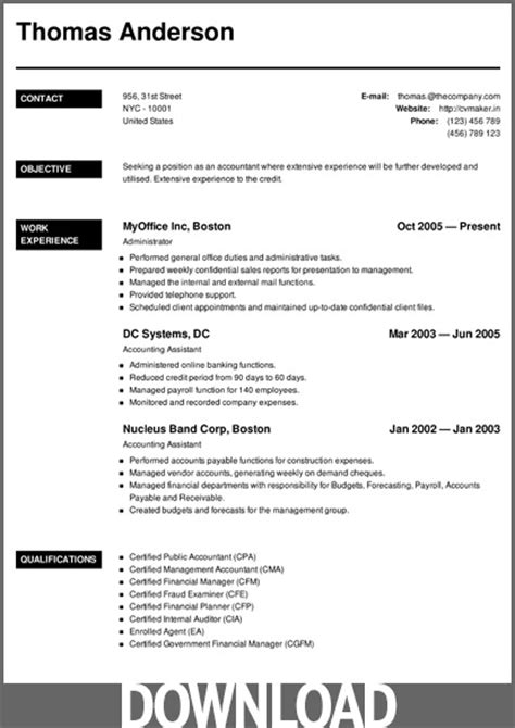 Resume Cv Creator 12 Free Microsoft Office Docx Resume And Cv Templates