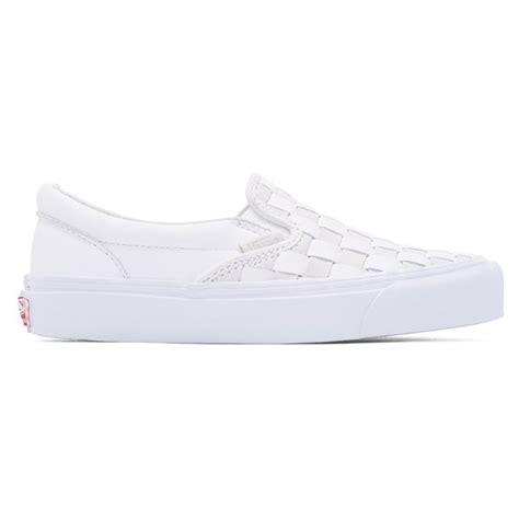 white leather slip on sneakers vans women s white 50th og classic lx leather slip on