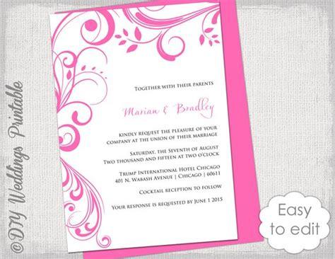 pink wedding invitations pink wedding invitation templates scroll