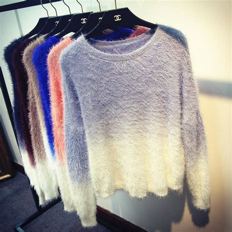 Sweater 2017 Loading 6 gradient sweater 2017 new fashion knitted oversized fluffy sweaters tricot knit batwing
