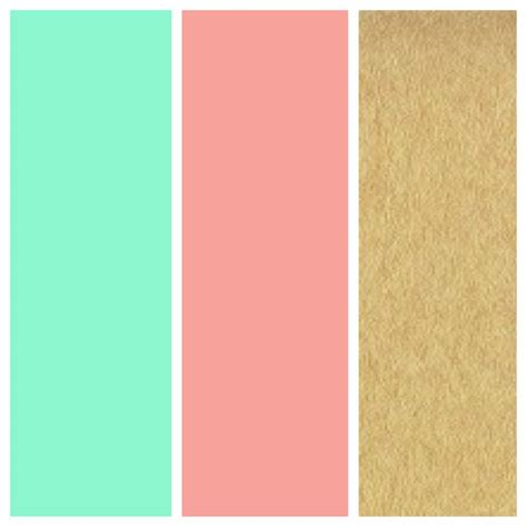 gold colors schemes love these as wedding colors mint green coral and gold