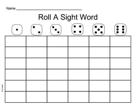 templates for sight words roll a sight word blank template the best free software