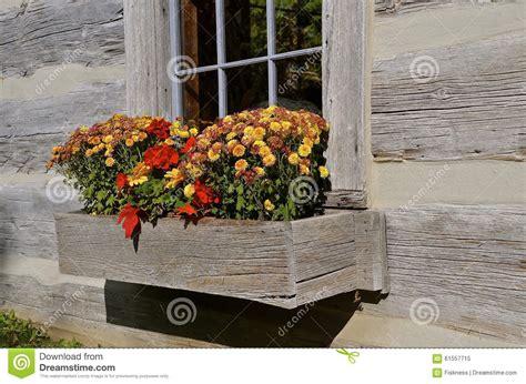 Log Cabin Flower Window Box Stock Image Image 61557715 Log Planter Box