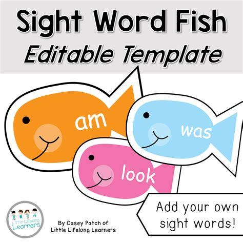 Sight Word Fish Editable Template For Fishing Game The Editable Fish Template