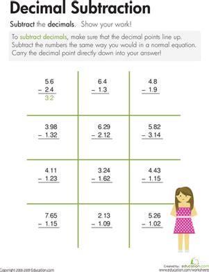 decimal subtraction worksheet education com