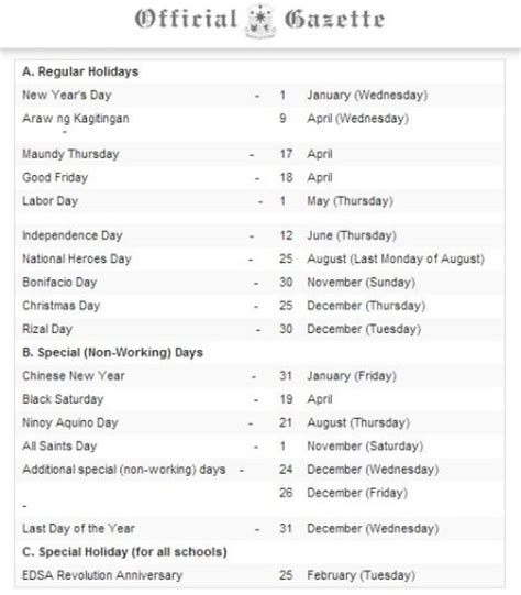 philippine national holidays 2014 official lists released