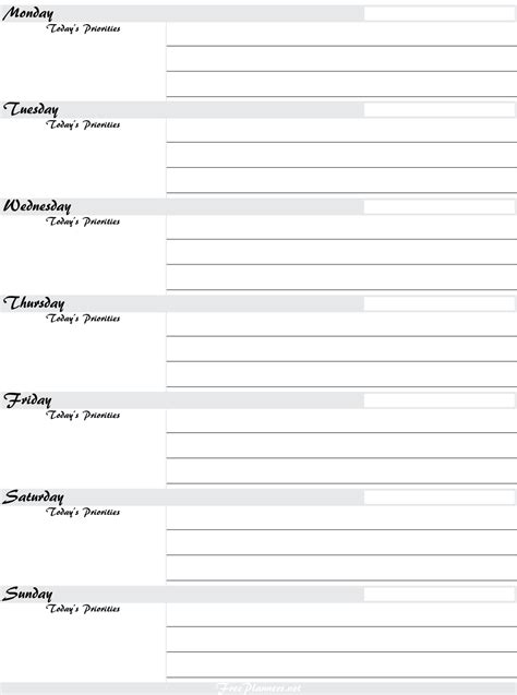 printable weekly planners printable weekly planner
