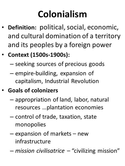 Modified Capitalism Definition by Colonialism Definition Political Social Economic And