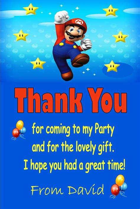 printable mario thank you cards personalised super mario thank you cards design 2