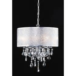 Chandelier L Shades With Crystals Indoor 4 Light Chrome White Shades Chandelier