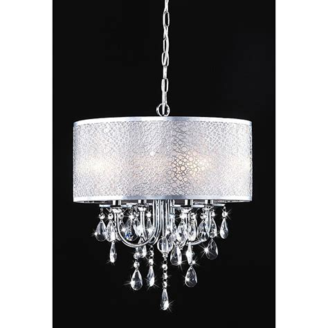 White Chandelier With Shades Indoor 4 Light Chrome White Shades Chandelier
