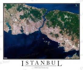 istanbul turkey satellite map print aerial image poster