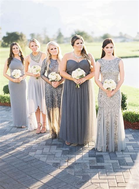 Silver Bridesmaid Dress by Sparkling Silver Bridesmaid Dresses Polka Dot