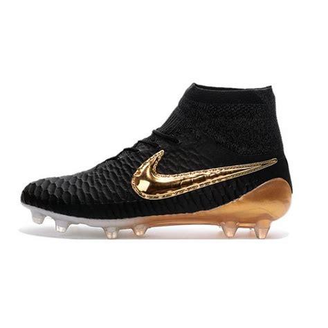 soccer shoes nike magista obra fg black white gold