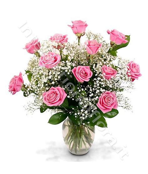 cura roselline in vaso bouquet di 12 roselline rosa