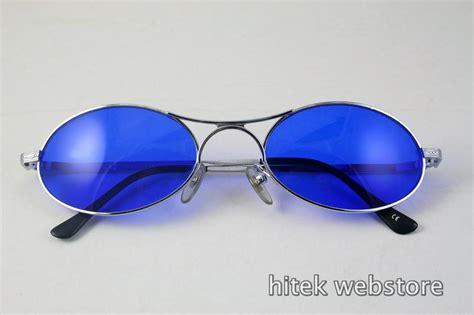 Britany Oval Sunglasses 7 silver metal oval sunglasses with indigo blue lenses hi tek hi tek webstore
