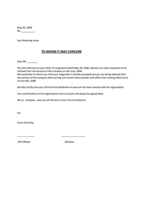 employee relieving letter a relieving letter is meant to relieve the employee who is no